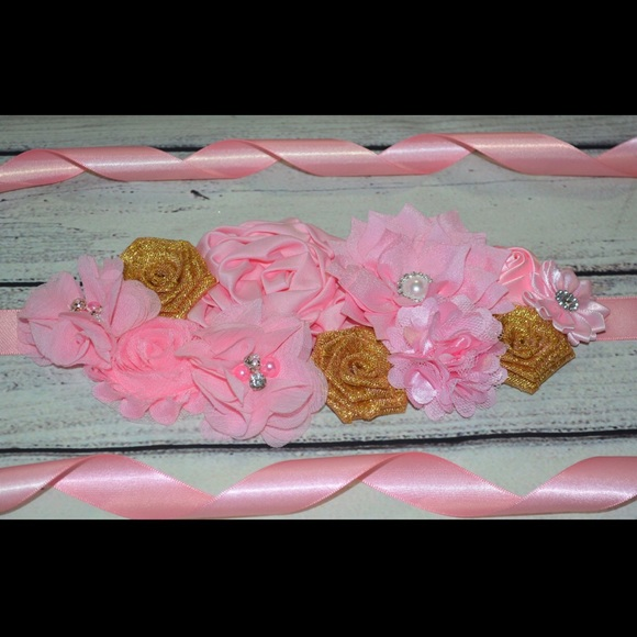 Accessories Pink And Gold Maternity Sash Baby Shower Sash Poshmark